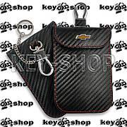 Чехол Фарадея, антисканер, противоугонный чехол Chevrolet (Шевролет) (кожаный, под карбон, черный, на липучке)