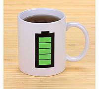 "Чашка хамелеон ""батарейка"" белая"