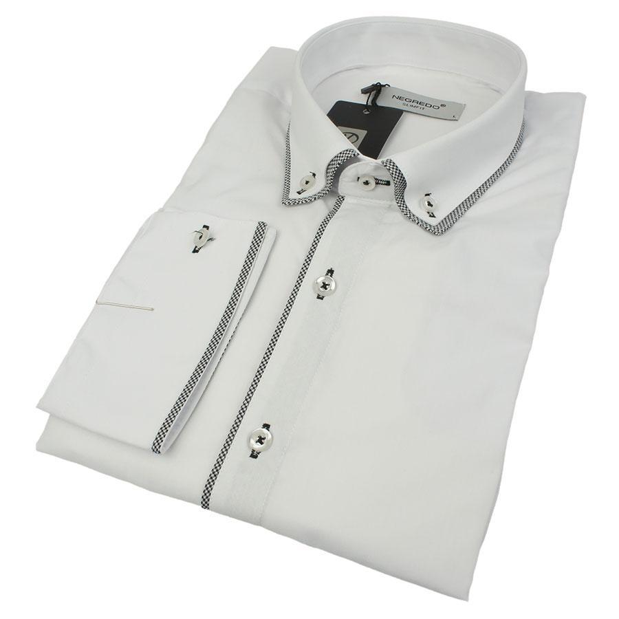 Біла чоловіча приталена сорочка Negredo 0350 NDS 07 з обробкою