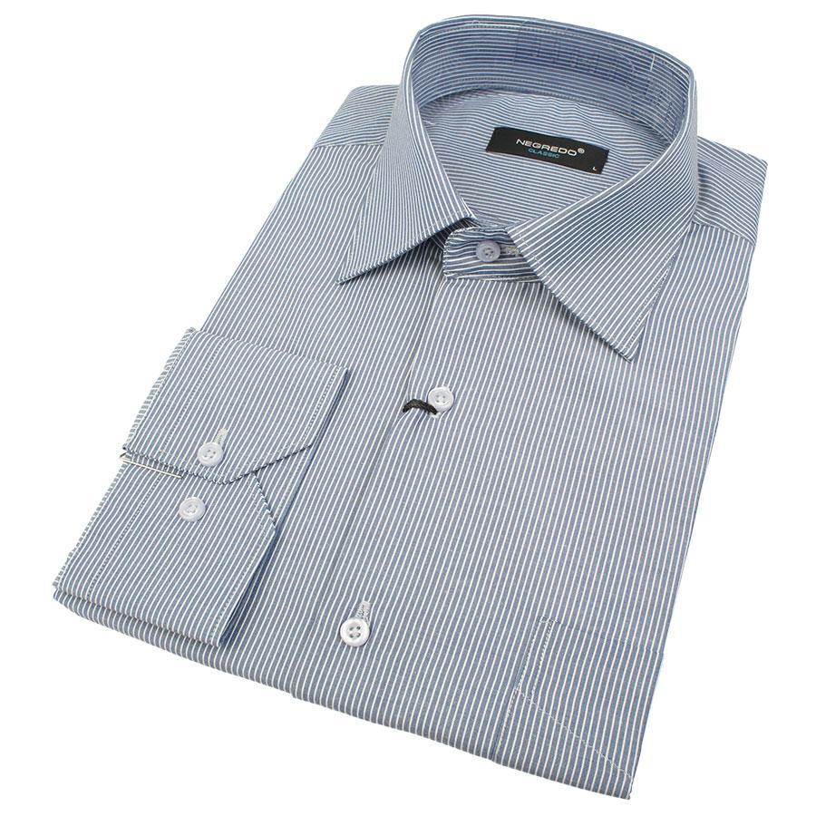 Класична чоловіча сорочка Negredo 530 NDC 07 блакитна в смужку