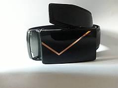 Ремень мужской кожаный Alon пряжка автомат ширина 3,5 см черный Р-144