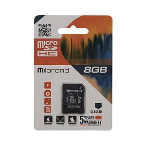 Карта пам'яті Mibrand MicroSDHC 8gb Class 10 & Adapter з карт-рідером 8 гб 10 клас чорна