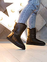 Комфортна взуття утеплене хутром для дівчат UGG. Стильні зимові УГГІ жіночі чорні