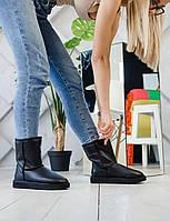 Комфортна взуття утеплене хутром для дівчат UGG Short Стильні зимові УГГІ жіночі чорного кольору.