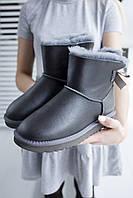 Комфортна взуття утеплене хутром для дівчат UGG з бантиком ззаду. Стильні жіночі УГГІ зимові.