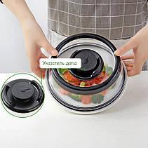 Вакуумная многоразовая крышка 19см для миски тарелки сковородки сохраняет продукты свежими, фото 2