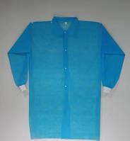 Халат для посетителей на кнопках с рукавом с манжетом р-р XL уп.5 шт Голубой (MAS40354)