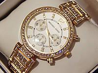Женские кварцевые наручные часы Michael Kors со стразами на металлическом ремешке, фото 1