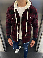 Рубашка мужская зимняя на овчине в клетку бордовая Lambo | теплая кофта ЛЮКС качества