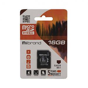 Карта пам'яті Mibrand MicroSDHC 16gb Class 10 & Adapter з карт-рідером 16 гб 10 клас чорна