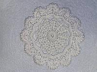 Вязанная крючком круглая салфетка, D 15 cm,  Белая, фото 1