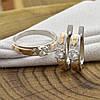 Серебряный набор с золотом Донна кольцо размер 17.5 + серьги 16х5 мм вставка белые фианиты, фото 2