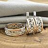 Срібний набір з золотом 351БС каблучка розмір 18 + сережки 18х7 мм, фото 3