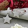 Серебряный набор кольцо размер 15.5 + кулон 18х12 мм вставка белые фианиты, фото 2