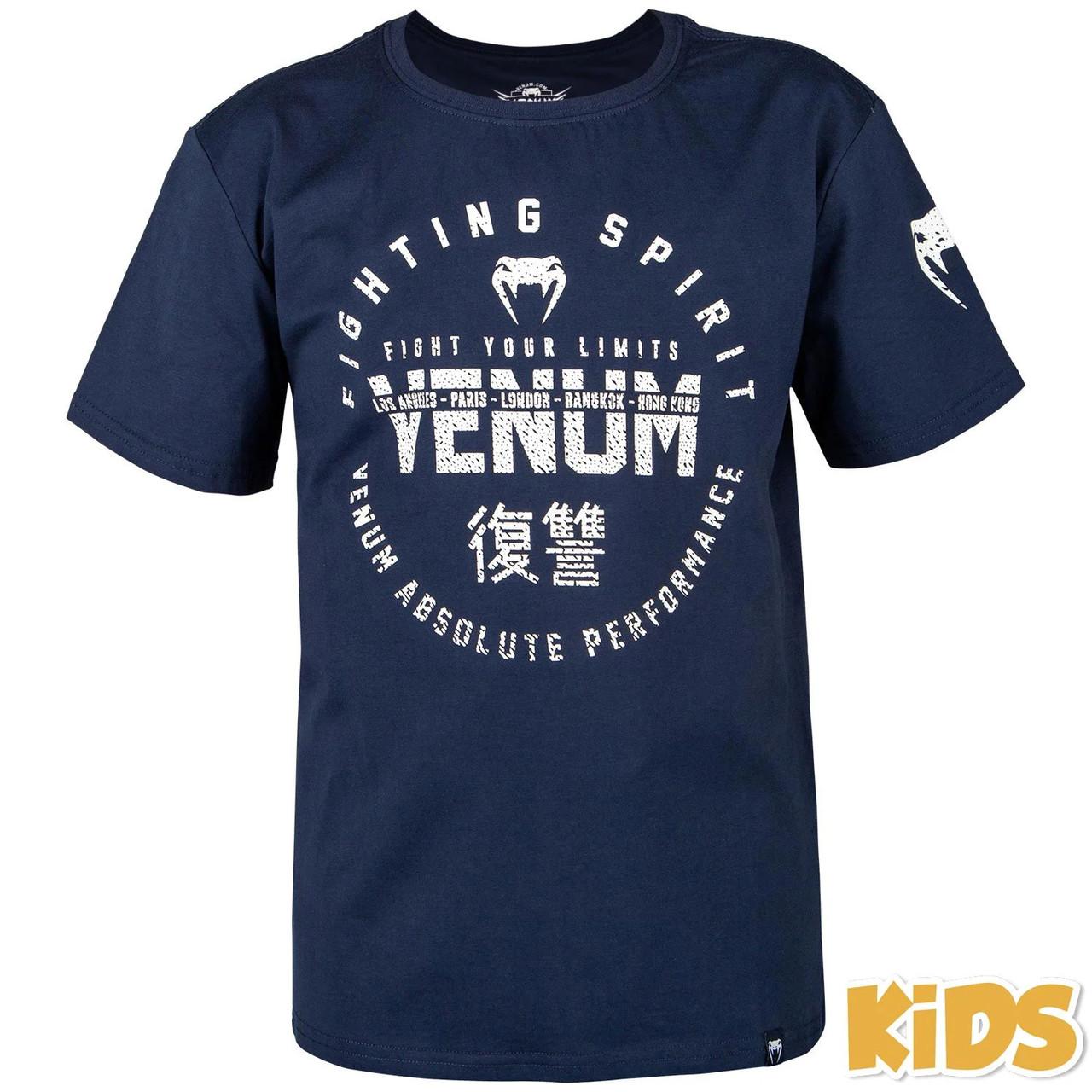 Детская спортивная футболка Venum Signature T-Shirt Navy Blue
