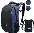 Рюкзак городской 7598 с USB, синий, фото 5