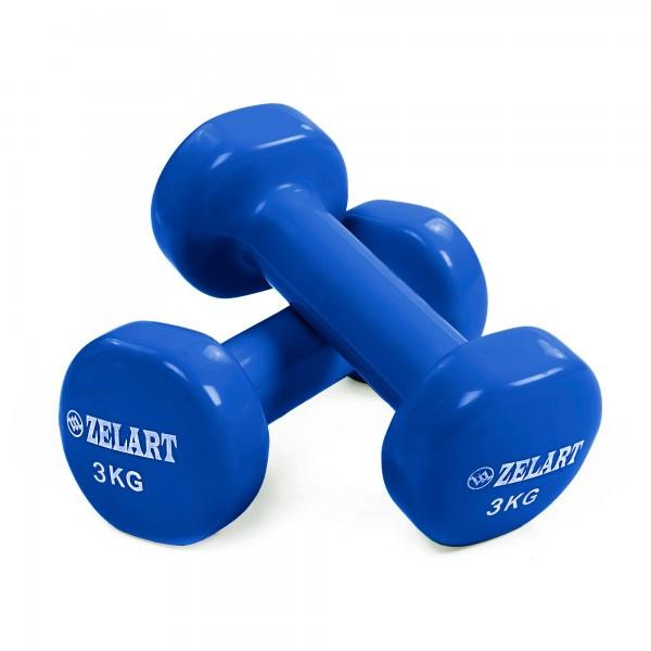 Гантелі для фітнесу з вініловим покриттям Zelart Beauty TA-5225-3 Blue (LI10070)