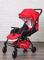 Прогулочная детская коляска Premium красная с черной рамой