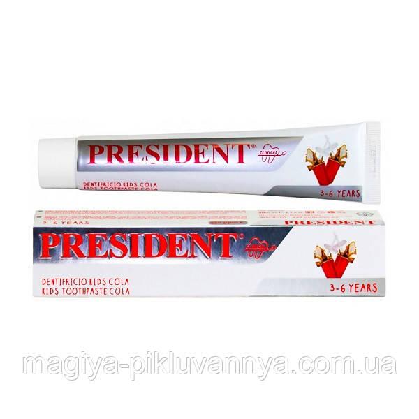 Паста зубная детская PresiDENT 3-6 Toothpaste Cola 50 мл, арт.708104