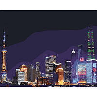 "̊ Яркая картина раскраска по номерам Картина по номерам Городской пейзаж ""Ночной Шанхай"" KHO3507, 40х50 см"