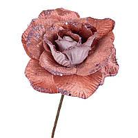 """Цветки для новогоднего декора """"Зимняя роза розовая"""" 16 см (упаковка 6 шт.), фото 1"""