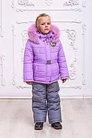 Комбинезон зимний детский на девочку с опушкой на флисе овчине 2-5 лет фиолетовый, фото 1