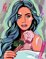 ̊ Яркая картина раскраска по номерам Rosa Девушка с розой 35х45 см N00013196 живопись рисование в цифрах на