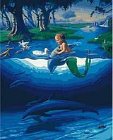 """Яркая картина раскраска по номерам Rainbow Art """"Маленький русал с дельфинами"""" GX28270-RA живопись рисование в"""