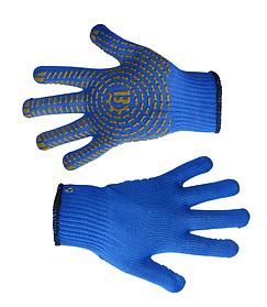 Перчатки рабочие Украина вязанные синие с ПВХ размер L (16-030-1)