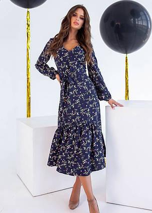 Женское синее платье миди в цветочек (р. S, M, L) арт. 36836, фото 2
