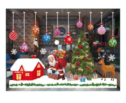 Рождественские наклейки - односторонние, (в наборе 2 листа размером 50*35см)