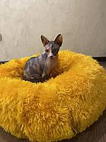 Круглая мягкая кровать для кошек и собак, лежак для животных 60 см Happy Pets (серый, желтый,темно-коричневый)
