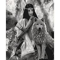 """Яркая картина раскраска по номерам """"Волчица"""" 40х50 см KHO4139 живопись рисование в цифрах на холсте"""
