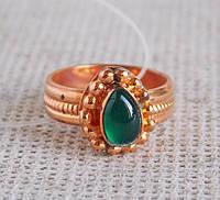 Кольцо с зеленым ониксом 15 размера