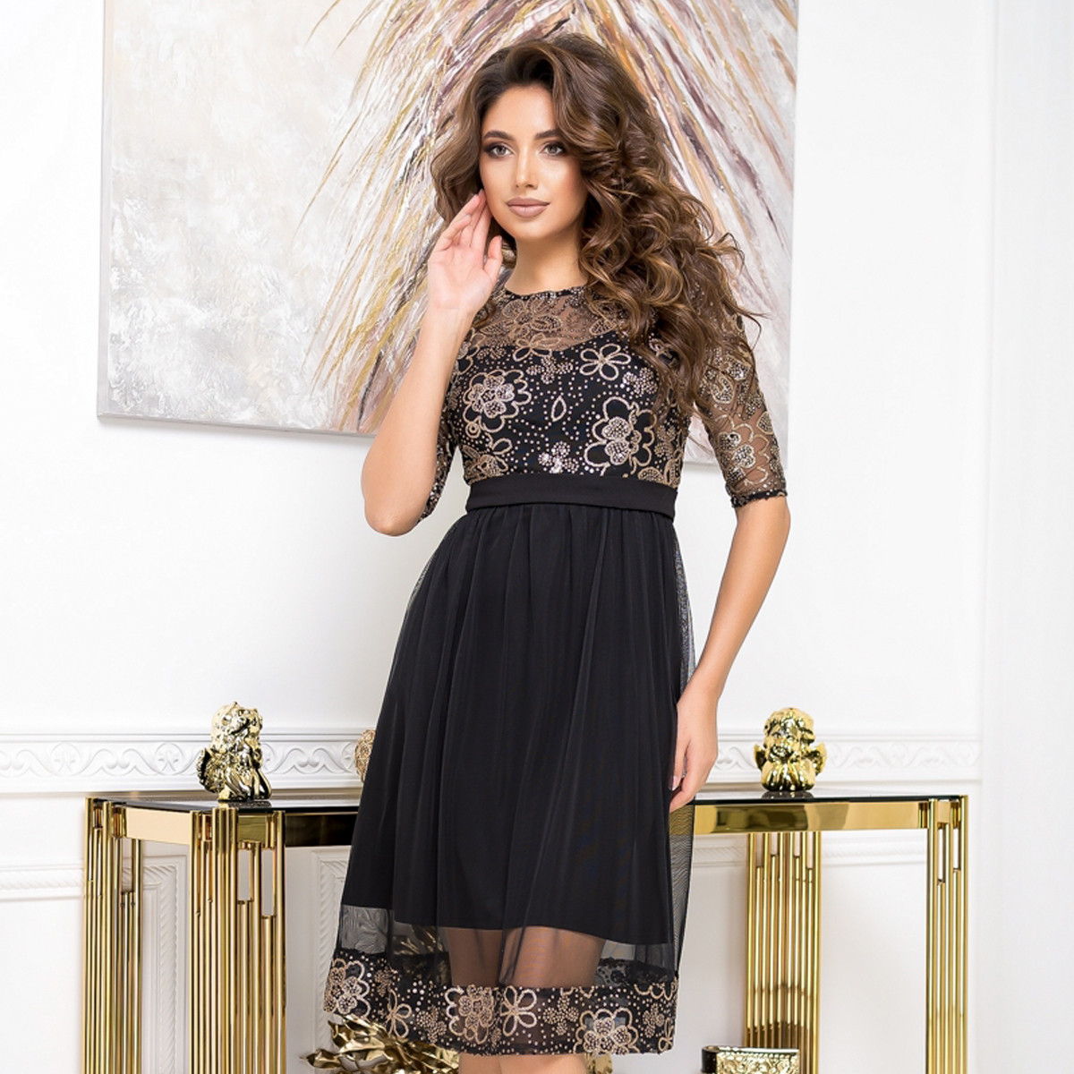 """Изящное коктейльное черное платье вечернее """"RANDEVU"""""""