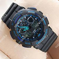 Необычные спортивные наручные часы Casio GA-100 Black/Black-blue 611