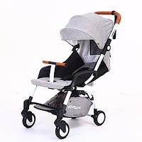 Прогулочная детская коляска Premium серая с белой рамой