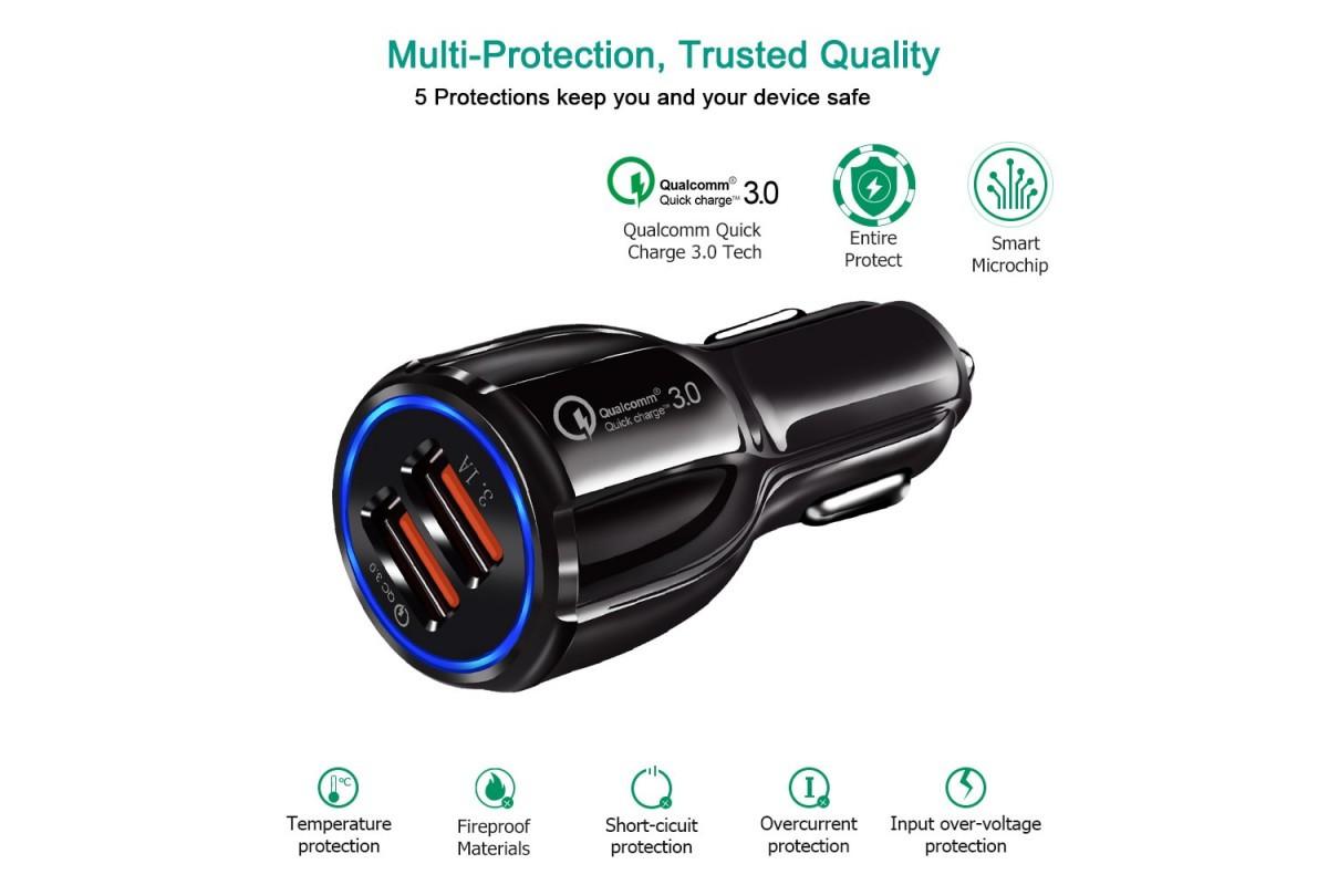 Автомобильное зарядное устройство SY-681 Quick Charge 3.0 (2 USB-порта)