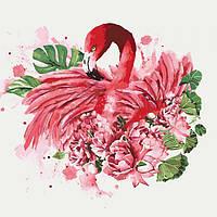 """Яркая картина раскраска по номерам Животные, птицы """"Грациозный фламинго"""" 40х40 см KHO4042 живопись рисование в"""