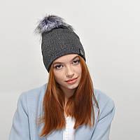 Женская шапка Nord 181003 двойная, люрекс  серый