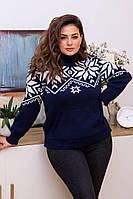 Женский вязанный свитер со снежинками и карманом кенгуру, фото 1