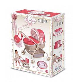 Коляска 86033 для куклы 35-50-выс.до ручки 56,классика, металл, сумка, корзина,кор,32,5-45-11см