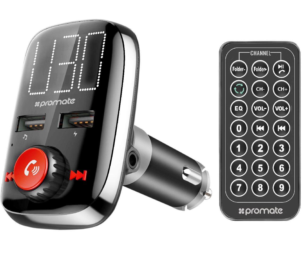 Bluetooth/AUX/SD/USB 2xUSB 3.4 A FM-трансмиттер Promate SmarTune-3 Black