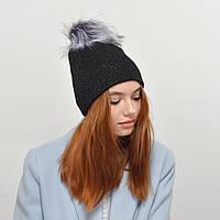 Женская шапка Nord 181003 двойная, люрекс  черный