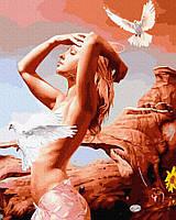"""Яркая картина раскраска по номерам Brushme """"Девушка с голубями"""" GX35047 живопись рисование в цифрах на холсте"""