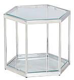Кавовий стіл СК-1 прозорий+срібло 60*52 h 50.5 Vetro Mebel, фото 2
