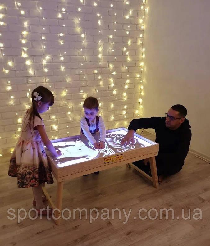 Световой стол-трансформер для рисования песком 100х60 см Ясень Tia-Sport