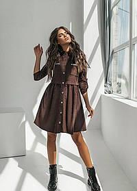 Женское коричневое платье из вельвета (р. 42, 44, 46) арт. 36554