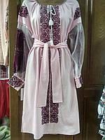 Красива рожева сукня з вишивкою фатіновий рукав 50 розміру
