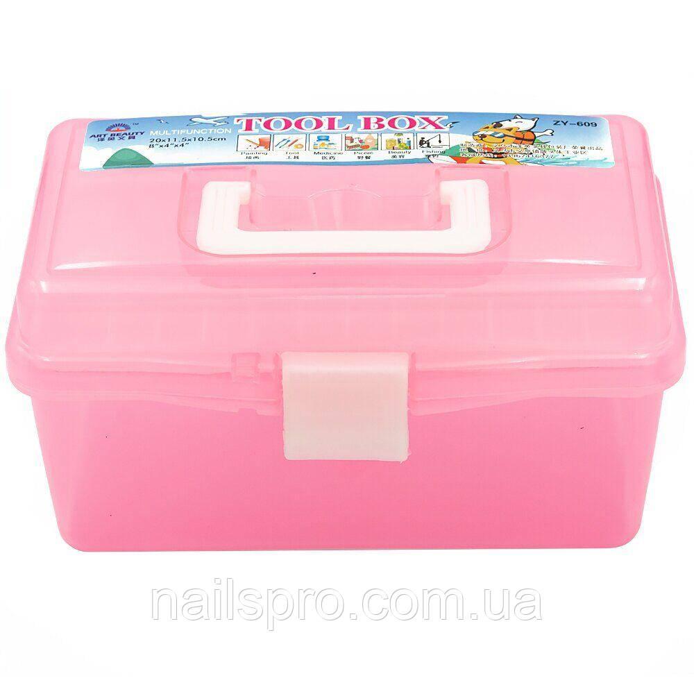 Контейнер для хранения инструментов YRE ККВ-00 со съемным отделением, розовый